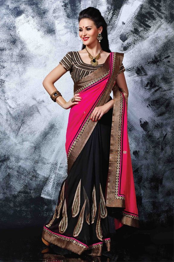 Pink and Black Georgette Designer Festive Wear Saree