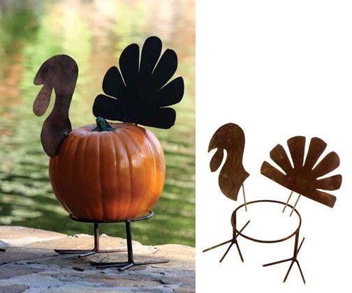 Outdoor thanksgiving decor- rustic metal pumpkin parts turkey $22.00  atwestend.com