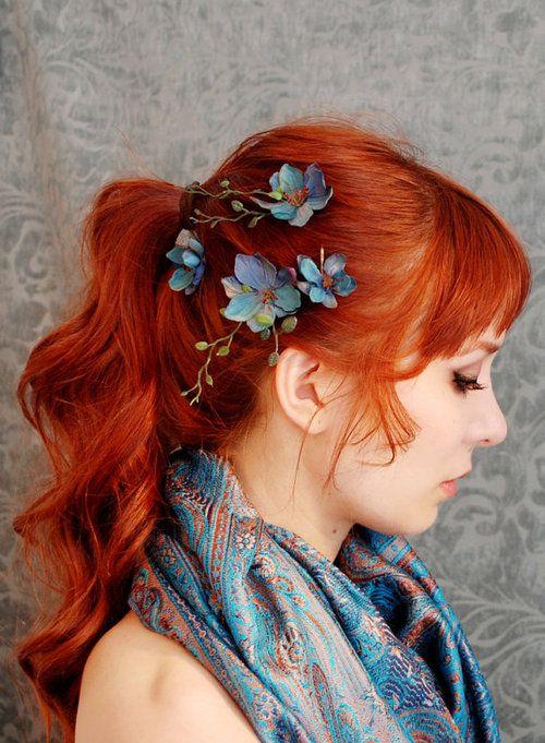 -: Hair Flowers, Hair Colors, Blue Flowers, Red Hair, Hair Style, Redhair, Hair Clip, Ponies Tail, Red Head