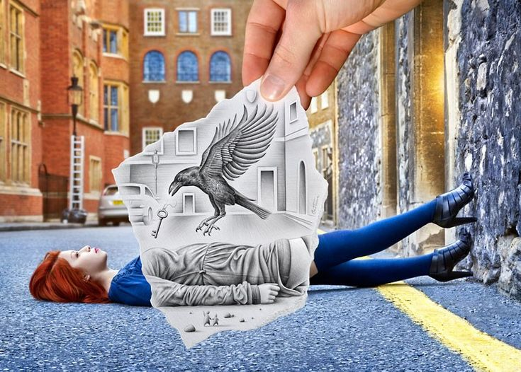 One piece, Pencil Vs Camera 57, was created in London last year and features model Caroline Madison lying in the street with a bird swooping down on her. via The Telegraph.