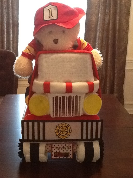 fire fighter baby shower diaper cake