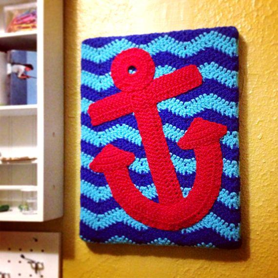 Nautical Crochet Patterns | Anchor Nautical Crochet Applique PDF pattern by HustleAndSewShop