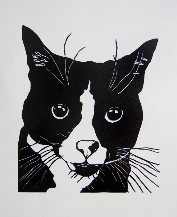 sweet black and white cat linocut print gift for cat lover graphic cat print