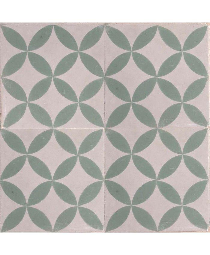 Petals Green Encaustic Cement Tile