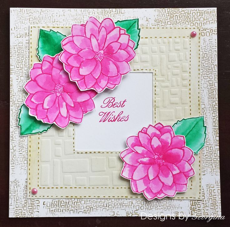 Card using flowers, leaves and backgrounds stamped and coloured with Kuretake pens.  http://designsbygeorgina.blogspot.co.uk/2016/07/best-wishes.html