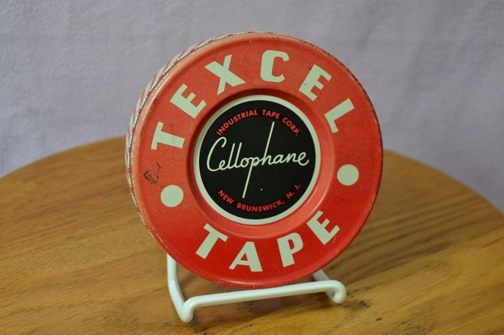 Vintage Mid-Century Texcel Cellophane Tape Tin Only Advertising Decor #Texcel