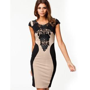 New 2.015 módní Ženy Neformální Oblečení Jarní šaty pro letní oblečení O-výstřih krajkové sexy krátkým rukávem šaty Šaty Desigual Vestidos