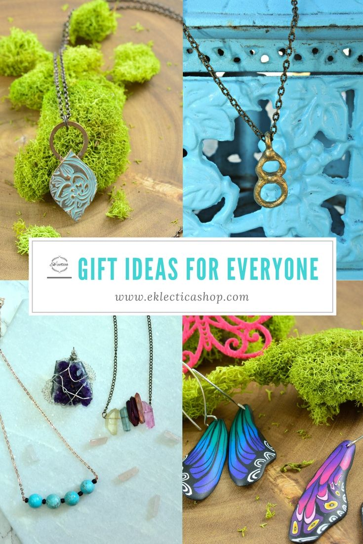 Gift ideas for everyone at www.eklecticashop.com. Need to buy a present for someone Eklectica has pottery, jewelry and wall art. Turquoise patina necklace from Alasha Lantinga, Recycled brass infinity necklace from Alora. Howlite, amethyst and angel aurora necklace from Soul Connection and polymer clay butterfly earrings from Wanda Shum. Curated selection of product from Canadian artisans.
