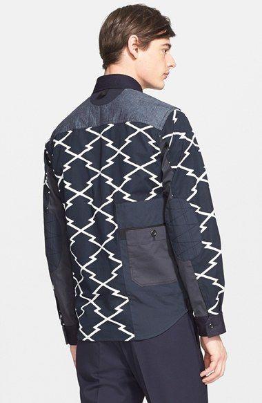 Junya Watanabe Zigzag Print Canvas Shirt Jacket   Nordstrom