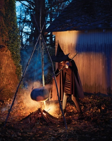 witchs cauldron suspend a steaming pumpkin from long branches to form a wickedly creepy cauldron how to make the witchs cauldron