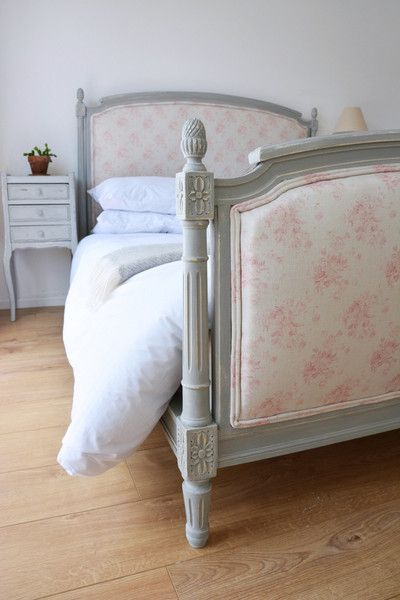 BESPOKE GUSTAVIAN DOUBLE BED - in your choice of fabric and paint. Show in Peony and Sage 'Millie'