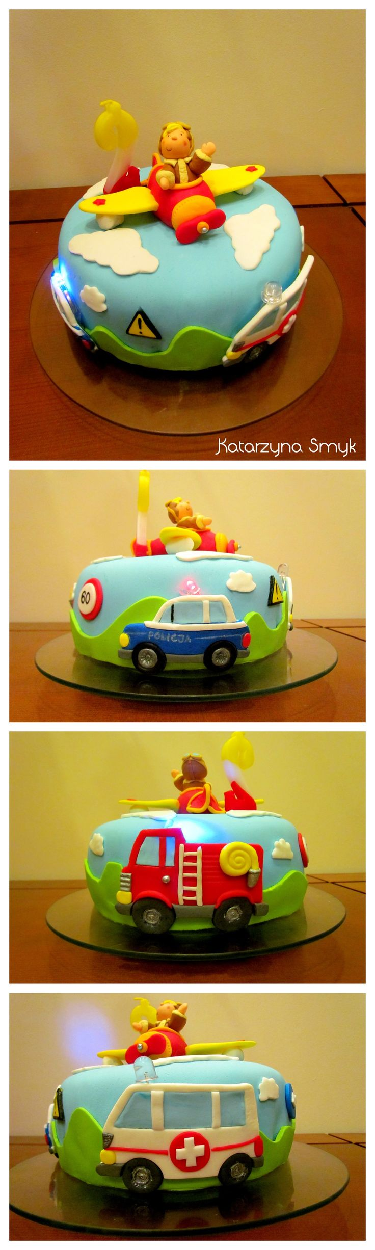 Transportation cake. Fondant police car, fire truck and ambulance with flashing LEDs. Plane cake topper. Cute vehicles idea for bitrhday boy :)