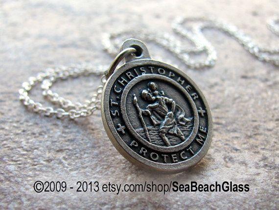St. Christopher Necklace. Saint Christopher US by SeaBeachGlass, $22.00