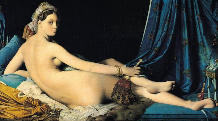 """""""La Grande Odalisque"""" by Jean Auguste Dominique Ingres (1814). """"Famous for the porcelain, icy look of his paintings, Ingres is a superb French Neoclassical artist who saw himself as a preserver of Academic tradition rather than an innovator. Here, he exaggerates the woman's body to be five vertebrae too long with an impossible pose. Seductive and strange, is her glance saying come-hither or get lost?"""""""