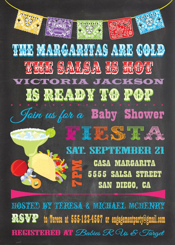 Chalkboard Mexican Fiesta Baby Shower invitations by McBooboos