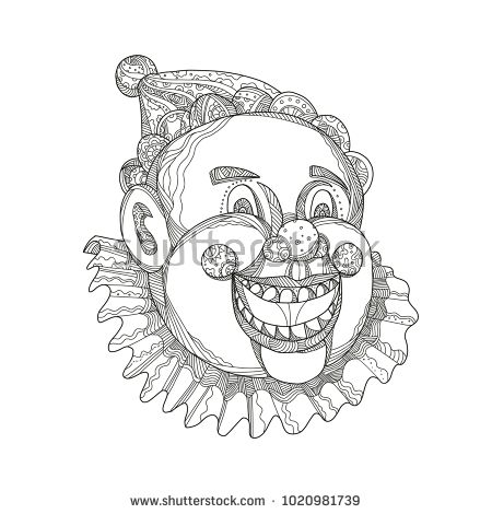 Doodle art illustration of a vintage circus clown head laughing and smiling on isolated background.  #clown #doodleart #illustration