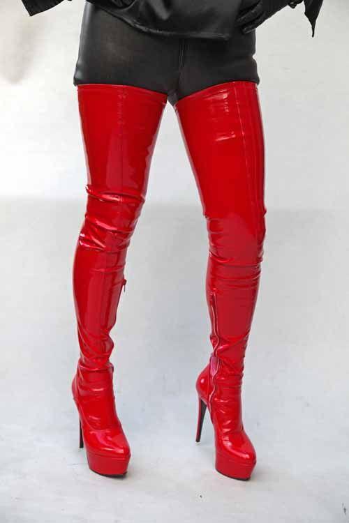 Extralanger Overknee Lackstiefel Rot Stiefel Overknee