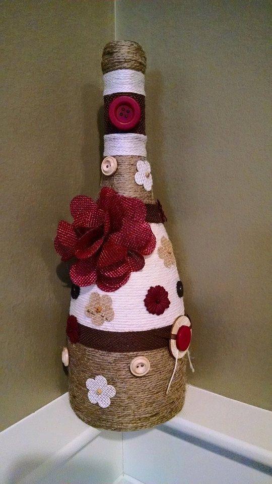 Decoración de la botella de vino por StaceysScrapsNSuch en Etsy