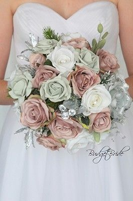 Rose Gold and Grey theme wedding flower brides bouquet with silver