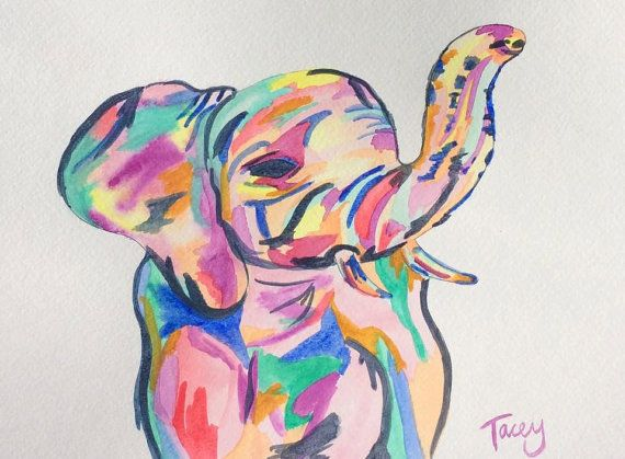 Penelope the Elephant/painting, wall art, water colour, elephant painting, abstract elephant, elephant art, abstract water colour elephant.  Watercolor painting by Tacey Willis Hesmer.