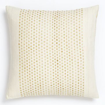 Embroidered Dot Silk Pillow Cover - Horseradish - from West Elm.  Perfect for the living room.