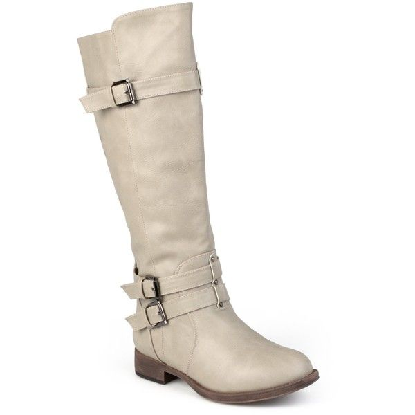 Journee Collection Women's 'Bite' Regular and Wide-calf Buckle... ($54) ❤ liked on Polyvore featuring shoes, boots, grey, knee-high boots, wide calf riding boots, gray leather boots, gray knee high boots, grey knee high boots and grey boots