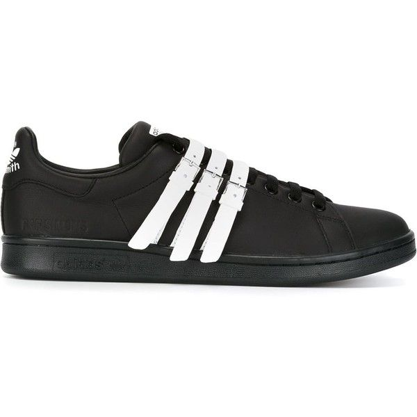 Adidas By Raf Simons triple strap 'Stan Smith' sneakers (£330) ❤ liked on Polyvore featuring shoes, sneakers, black, adidas sneakers, lace up shoes, black trainers, adidas trainers and leather shoes
