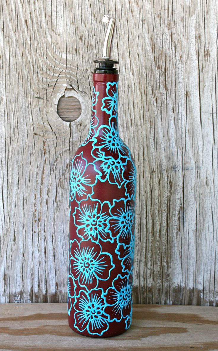Best 25 olive oil dispenser ideas on pinterest bathroom hand painted wine bottle olive oil pourer brick red and turquoise decorated with flowers reviewsmspy