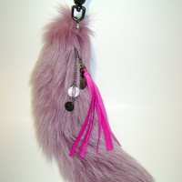 Frosted Lavender Fox Tail Keychain