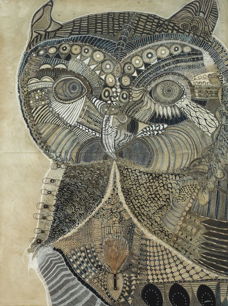 Owl of Tranquility - Morning Bay, oil and cane on carved board, 204 x 152 cm