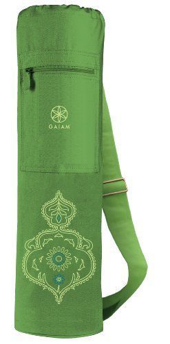 Gaiam Sublime Yoga Mat Bag by Gaiam. $17.58. A chic, functional spin on a classic design, our mat bag is roomy enough for your yoga, Pilates or fitness mat. This 100percent cotton mat bag is designed with a zippered front pocket to hold essentials. Machine wash in cold water and dry flat.. Save 12% Off!