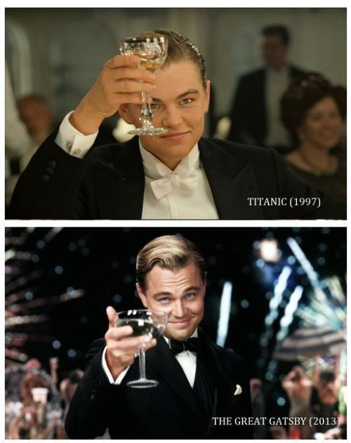 Leonardo Dicaprio in Titanic (1997) and The Great Gatsby (2013).  Hasn't changed a bit. LOVE