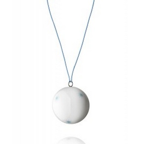 Medium Christmas decorative bauble with ice light blue snowflakes by Anne Black, $20