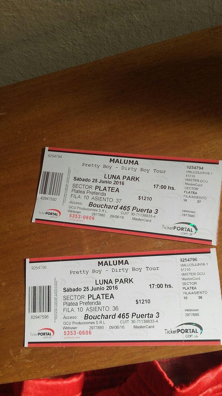 Vendo entradas al concierto de Maluma en el LUNA PARK este 25 de Junio 😊😊😊