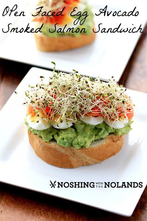 Open Faced Egg Avocado Smoked Salmon Sandwich