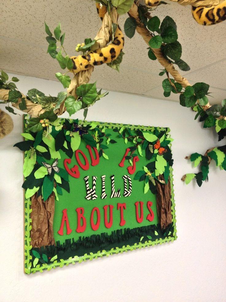 sunday school bulletin boards | Beautiful jungle theme bulletin board