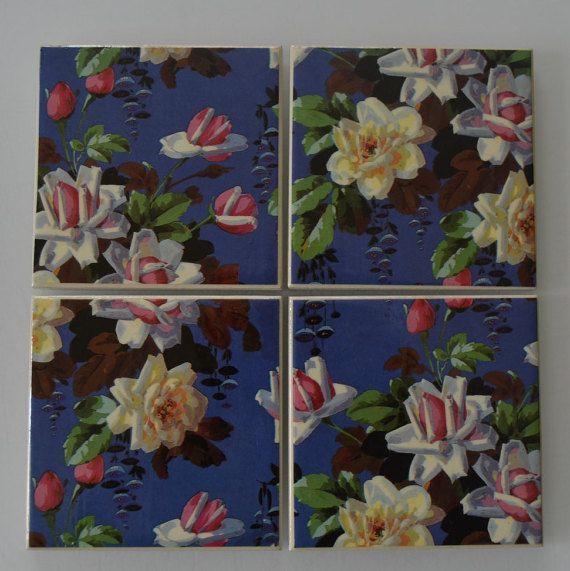Hand-crafted Ceramic Tile Coaster Vintage Roses by RiverOakFive