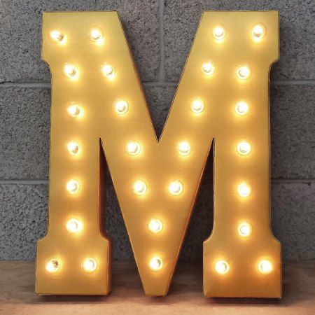Custom 21' Metallic Gold Letter 'M' Vintage Marque - tap to personalize and get yours