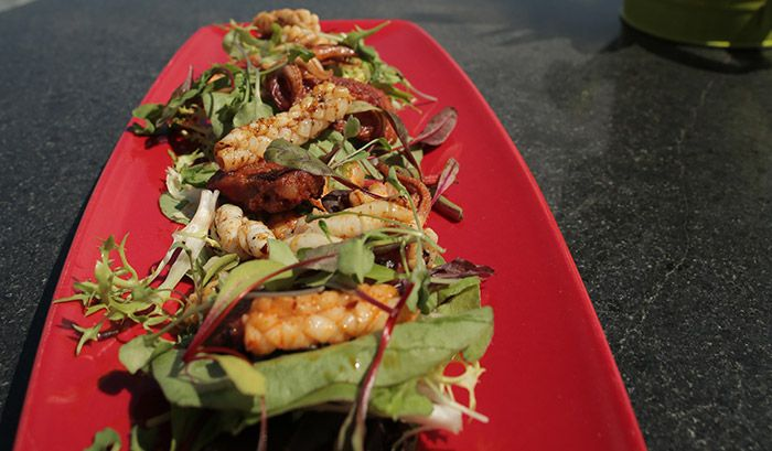 Chilli Salted Squid and Chorizo Salad http://gustotv.com/recipes/salads/chilli-salted-squid-and-chorizo-salad/