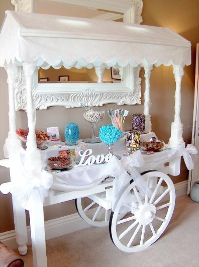 You've heard of a dessert table, now meet a dessert cart. All the better to wheel it back to your room ...