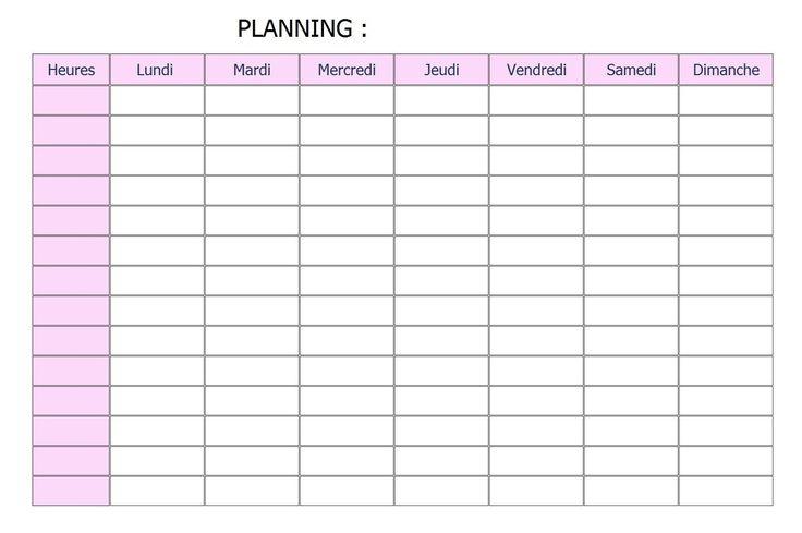 modele planning hebdomadaire gratuit