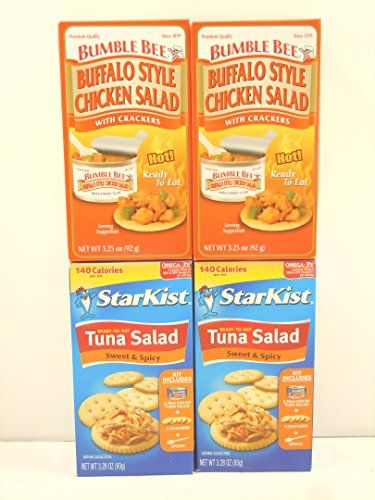 Bumble Bee Buffalo Style Chicken Salad with Crackers 325oz 2kits and Starkist Tuna Salad Sweet  Spicy with Crackers 328oz 2kits * You can find more details by visiting the image link.