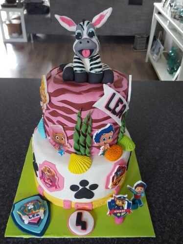 Paw Patrol & Bubbel Guppies en een zebra☺ birthday cake