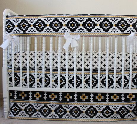 Modern Southwestern Baby Bedding, Gender Neutral Baby Bedding, Monochrome Baby Bedding: Black, White & tylMetallic Gold. Very stylish and trendy
