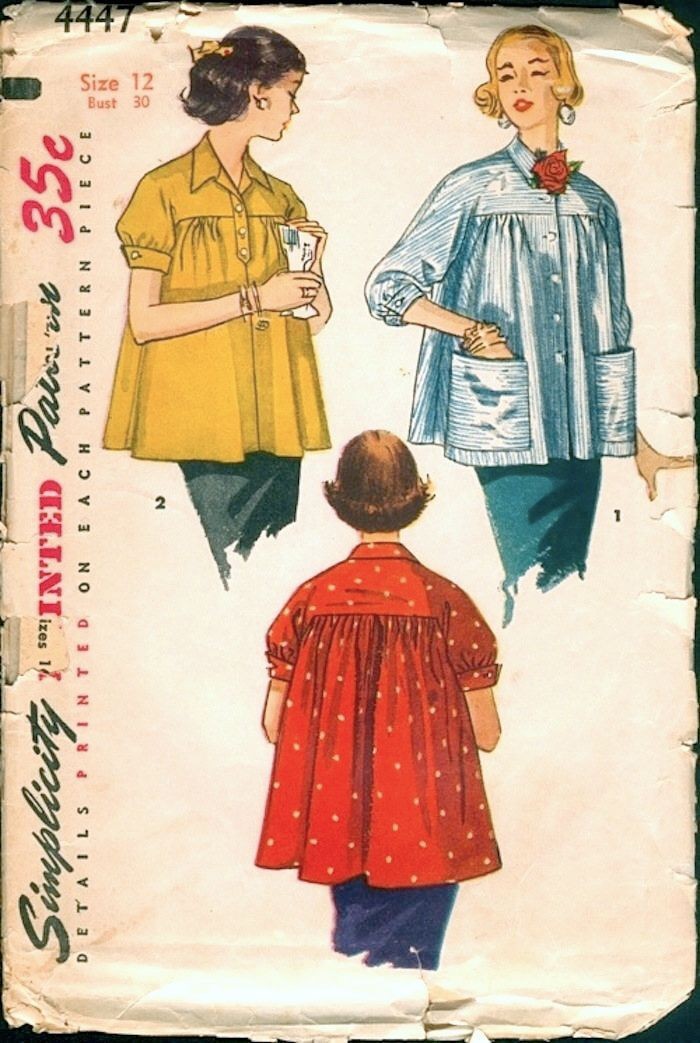 Nice Vintage 1950s Simplicity 4447 Maternity Jackets or Smock Tops Blouses Sewing Pattern B30 by NostalgieVintage on Etsy https://www.etsy.com/listing/265811541/nice-vintage-1950s-simplicity-4447