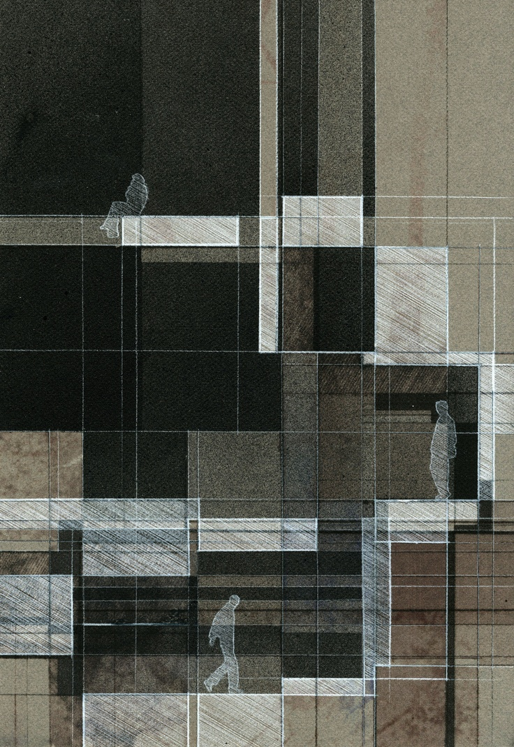 UF D3 Door Window Stair, Section. Pencil + Acrylic Paint on art paper, 12x18. - John Fechtel