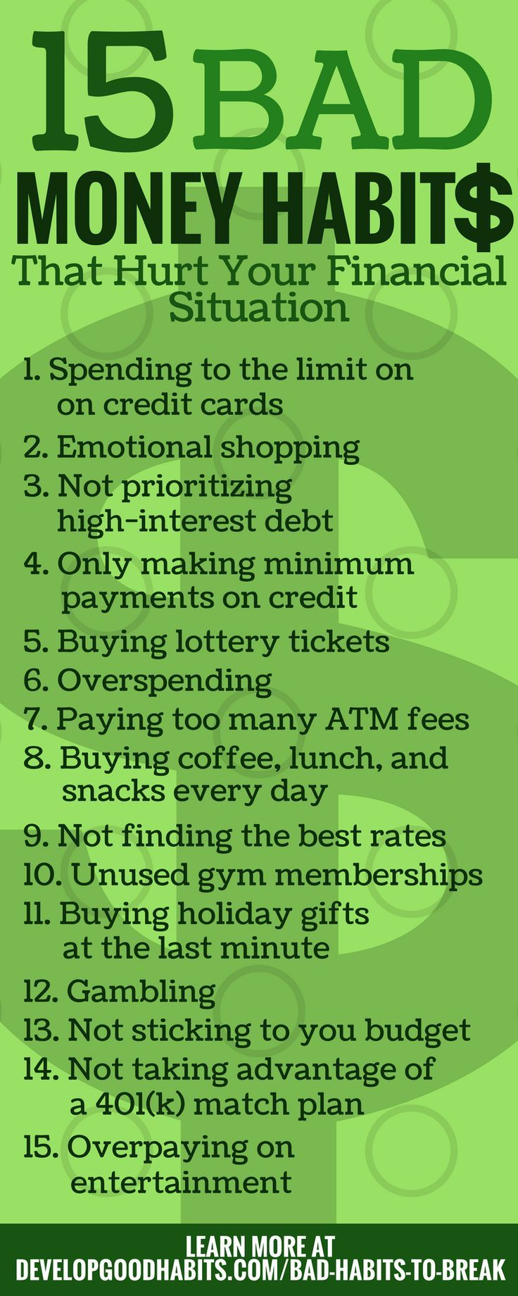 15 Bad Money Habits - That cause overspending and have a huge negative impact on your finances --- Part of 283 Bad habits you need to get rid of....  Money | Money problems | Money Issues | Money routines | Budget | budgeting | saving | savings | frugal living | spending | control spending | emotional shopping | overspending | late fees | overpaying | atm fees | wasting money