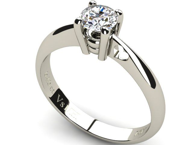 White Gold Solitaire Diamond Ring 0.40 ct - Paul Jewelry