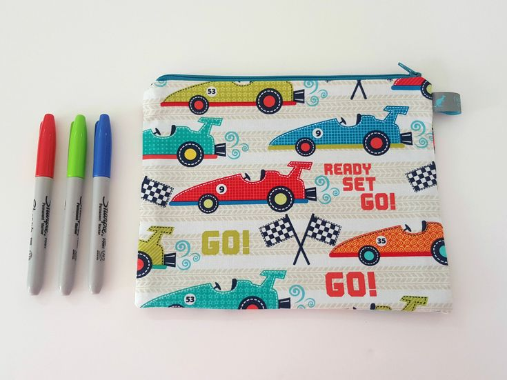 Boys Pencil Case, Car Fabric. Fully lined, handmade in Kent, UK. Available from our Etsy Store #pencilcase #boysgifts #ollieandroo #presentideas