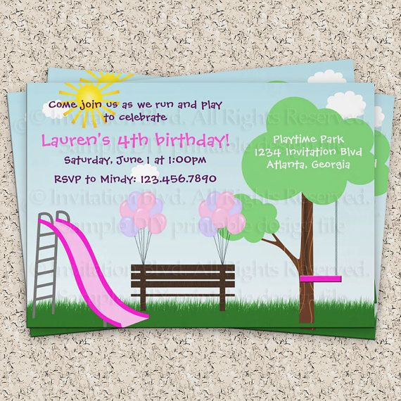 Kids Park Invitation  Playground Invitation  by InvitationBlvd, $7.00. this is the one i WANT!!!